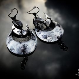 Ohrringe Mondphasen Mond Mondsichel Moon silber schwarz