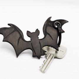 Schlüsselanhänger Fledermaus schwarz Echtleder