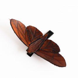 Haarspange Haarclip Falter Insekt Motte braun Echtleder realistisch