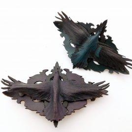 Rabe auf Ornament Raven Crow Farbverlauf Haarclip französische Haarspange