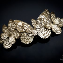 Haarspange Haarclip Falter Insekt Schmetterling Baumnymphe franz. Haarspange Echtleder