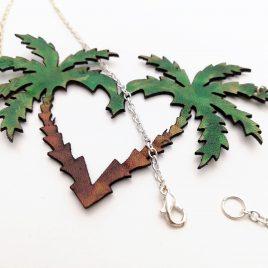Halskette Kette Collier Palmenherz Palme Summerlove Caribic Feeling Echtleder Herz