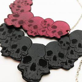 Halskette Kette Collier Skulls Schädel schwarz Skullhead Kette 4 Farbvarianten