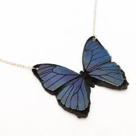 Halskette Kette Collier Schmetterling Falter Blue Butterfly Aquarelllook blau