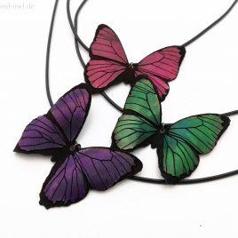 Halskette Kette Collier Schmetterling Falter Baumwollband 2 Farbvarianten