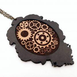 Halskette Kette Amulett Zahnräder Steampunkbraun messingfarben Echtleder