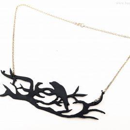 Halskette Kette Collier Rabe auf Ast Rabennacht schwarz