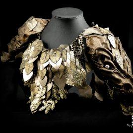 Kragen Halskragen Echtleder Drachen Dragon Drachenkragen Dragonshoulder Drachenschulter gold bronze