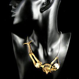 Kette Totenkopf Skull Skelett Skeleton Gerippe Körper Body Echtleder