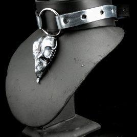 Birdskull Necklace Halsband breites Lederband mit Ring und Lederschädel Nr. 5