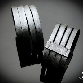 Armband Echtleder Streifen Strips Lasercut Silber Metallic Herrenarmband Echtleder 2 Varianten