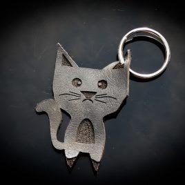 """Schlüsselanhänger Katze Cat Mietze """"Minze"""" schwarz Echtleder"""