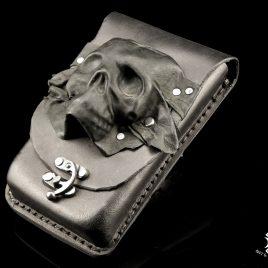 Gürteltasche Handytasche schwarz Totenkopf Pouch Unikat Leder