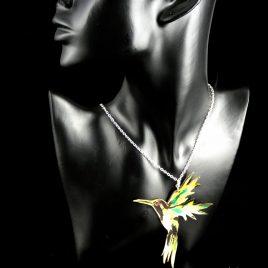 Kette Halskette Kolibri Vogel bunter Vogel Flügel farbig Echtleder