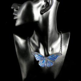 Halskette Kette Morpho rhetenor blauer Schmetterling Echtleder metallic