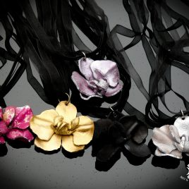 Kette Collier Halskette Orchidee Blüde Orhideenblüte Echtleder 5 Varianten