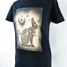 Damenshirt schwarz Lavendeldruck AbraCATabra Katze