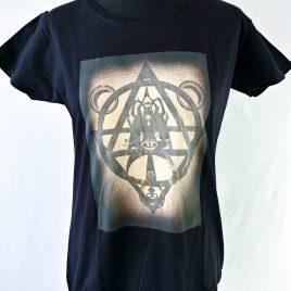 Damenshirt schwarz Lavendeldruck Mystic Witch Hexenzirkel