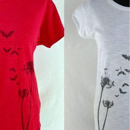 Damenshirt Kurzarm Baumwolle Fledermaus Pusteblume weiß oder rot