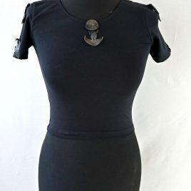 Damenshirt Crop Top schwarz Leder-Applikation Mond Witch and Moon