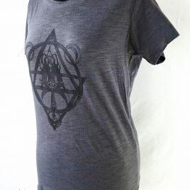 Damenshirt dunkelgrau Lavendeldruck Mystic Witch Hexenzirkel