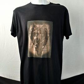 Herrenshirt schwarz Lavendeldruck Wolfskopf Mystik Hexerei