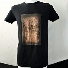 Herrenshirt schwarz Lavendeldruck Totenkopf Skelett Skull