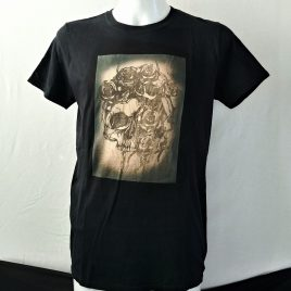 Herrenshirt schwarz Lavendeldruck Totenkopf mit Rosen