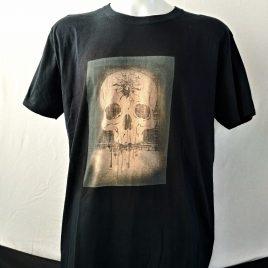 Herrenshirt schwarz Lavendeldruck Headshot Schädel