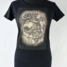 Damenshirt schwarz Lavendeldruck Totenkopf mit Rosen