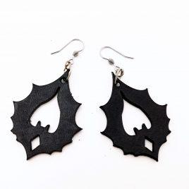 Ohrringe Ohrhaken Fledermaus Ornament Flughund schwarz