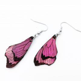 Schmetterlingsflügel Ohrringe Ohrhaken Hängeohrringe rosarot