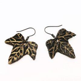 Blatt Ohrring Blattohrring Efeublatt Efeu schwarz gold