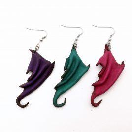 Flügelohrring Ohrhaken Ohrring Drachenflügel violett rot grün