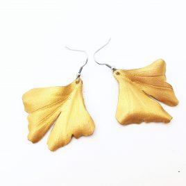 Ginkgoohrring Ohrhaken Ginkgo Blatt goldfarben