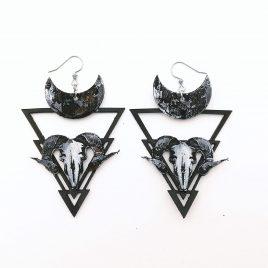Höllenmondohrring Ohrhaken Ohrring Baphomet Ziege Mond Hexe schwarz