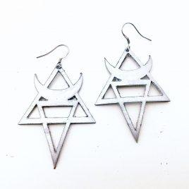 Mondohrring Ohrhaken Ohrring Magie Hexe Symbolik silber oder schwarz