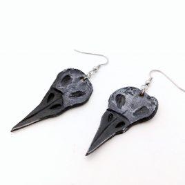 Ohrring Ohrhaken Vogelschädel Schädel Rabe Rabenschädel