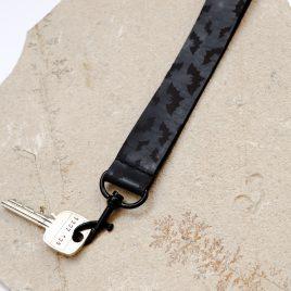 Schlüsselband Fledermaus Fledermäuse Nachtschwärmer schwarz Echtleder