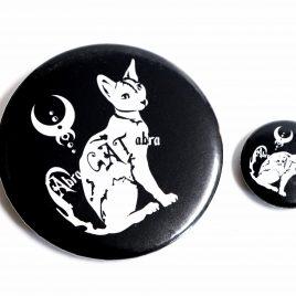 Button Pin Abra Cat Abra Katze 25mm oder 59mm