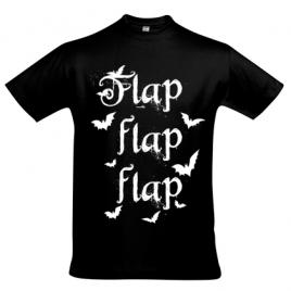 Herrenshirt schwarz Fledermaus Flap Flap Flap Siebdruck