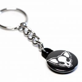 Schlüsselanhänger Button Katzenschädel