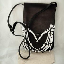 Umhängetasche Tragetasche Damenhandtasche Skeletthand schwarz weiß