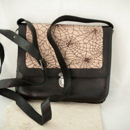 Umhängetasche Tragetasche Damenhandtasche Spiderwebs Leder schwarz braun