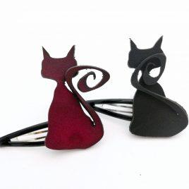 Haarspange Haarclip Katze Cat schwarz oder rot 2 Varianten