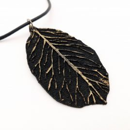 Halskette Kette Collier Laubblatt Lederband schwarz golden Echtleder Blattadern