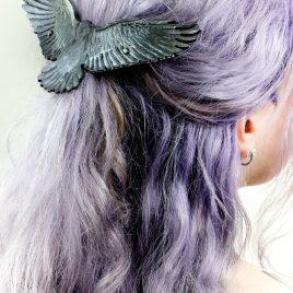 Haarspange Haarclip handpunzierter Rabe
