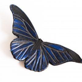 Haarspange Haarclip Falter Insekt Schmetterling blau funkelnd Echtleder Morpho rhetenor