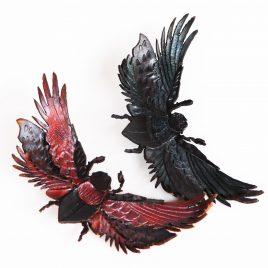 Haarspange Haarclip Skarabäus Fantasy Käfer Engelsflügel rot oder blau