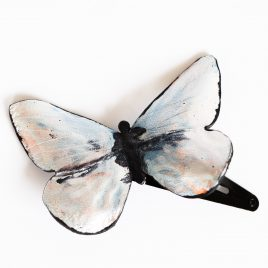 Haarspange Haarclip Falter Insekt Schmetterling Mondsteinfarben Mondfalter Funkelglanz Effekt Echtleder